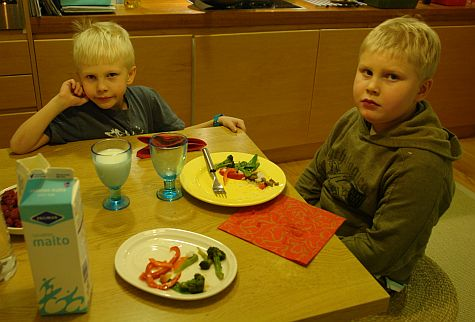 Finnish boys at the end of their Chinese meal
