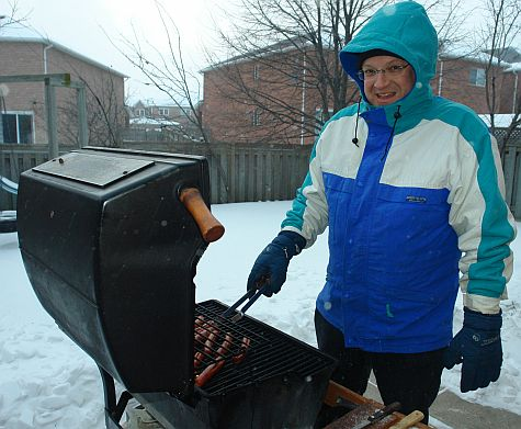 Barbequing in the winter
