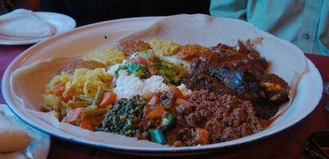 Stews on injera at Ethiopian House